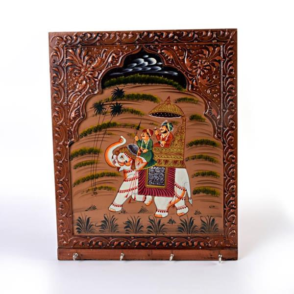 Buy Hand Carved Dhola Maru Painted Keychain Holder Online.   This Handcrafted Keychain Holder is made of wood and adorned with handmade dhola maru Painting. The gift piece has been prepared by the creative artisans of Jaipur.  Click on the below link to view the product:   http://littleindia.co.in/hand-carved-dhola-maru-painted-4-key-wooden-stand-297/p673