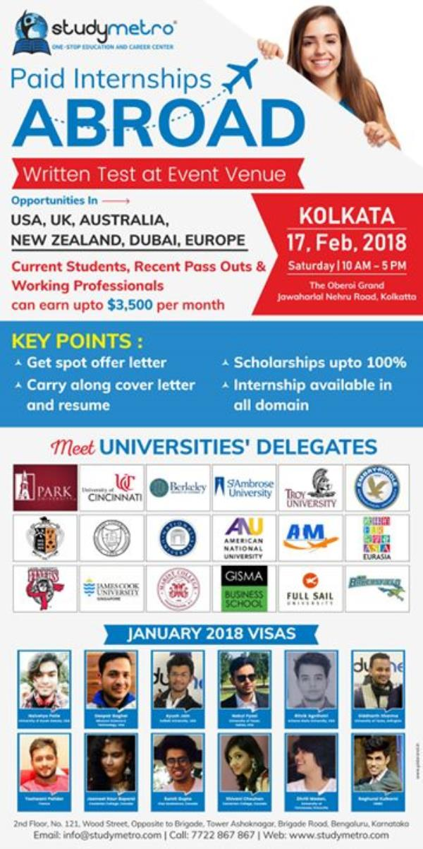 Do You Want To Study Abroad? Register for FREE Live Workshop & Get on the Spot Assessment from Top Colleges from UK, USA, Canada, Australia! Limited Spots Available. FREE Registration & Entry! Pre-Register Today to Avoid Disappointment!  http://ow.ly/m4jB30ifsXf