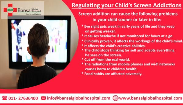 Regulating your Child's Screen Addictions  The topic is familiar to most parents today. And in fact to anybody who lives around a child in the house. Children today are more addicted to screens today than they ever were. Screens can include television, mobile, or computer screens. The most important reason is obviously the increased number of gadgets in a household and the content available 24×7 to pacify your child. But is it the right thing to do? Dr. Neha Bansal is of the view that it is rather not.  #Bansal_Global_Hospital  #Contact_Now  Ph : 011-27636400  Email : info@bansalglobalhospital.com  Address : C-10 Ramgarh, , Near Jahangirpuri Metro Station,  Delhi, 110033 Read More : https://bansalglobalhospital.com/regulating-childs-screen-addictions/