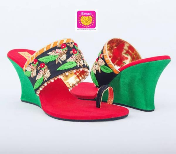 Beautifully handcrafted Parrot motif black, red and green wedges in Zardosi and Thread handwork from The Wedding Collection 2018 by Blinkk Footwear