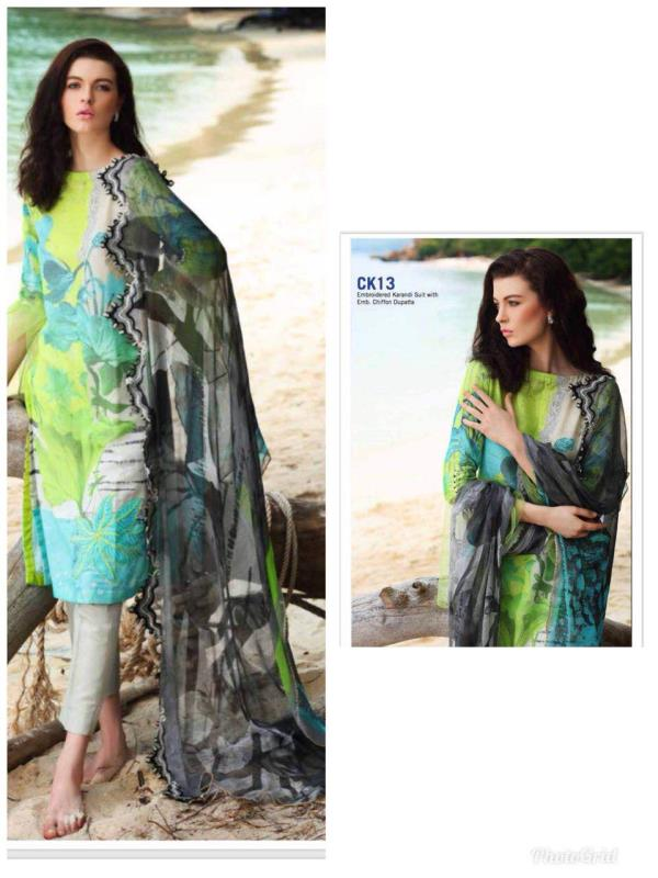The first official Lawn Catalogue of 2018 by Charizma   Launching exclusively in India on 15th February   *Charizma Spring Summer Lawn 2018*  Embroidered Karandi Lawn Shirt with Net/Chiffon Dupatta & Lawn Trouser  Pre Book your favourite now !  Hurry order today !  3499 plus shipping