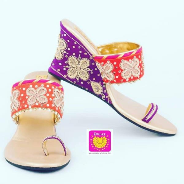 Orange Purple Zardosi Work Wedges from The Wedding Collection 2018 by Blinkk Footwear  Buy them online:- http://blinkkfootwear.com/purple-orange-zardosi-wedges/p110