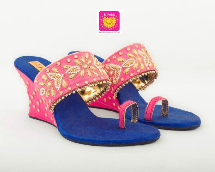 Baby pink royal blue zardosi work wedges from The Wedding Collection 2018 by Blinkk Footwear!  Buy online:- http://blinkkfootwear.com/baby-pink-blue-zardosi-pearl-wedges/p112
