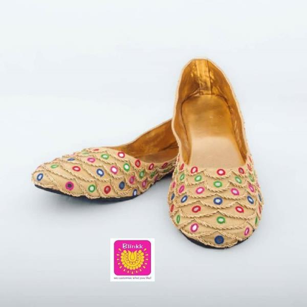 Zardosi, mirror and multicolour thread work mojdis from The Wedding Collection by Blinkk Footwear