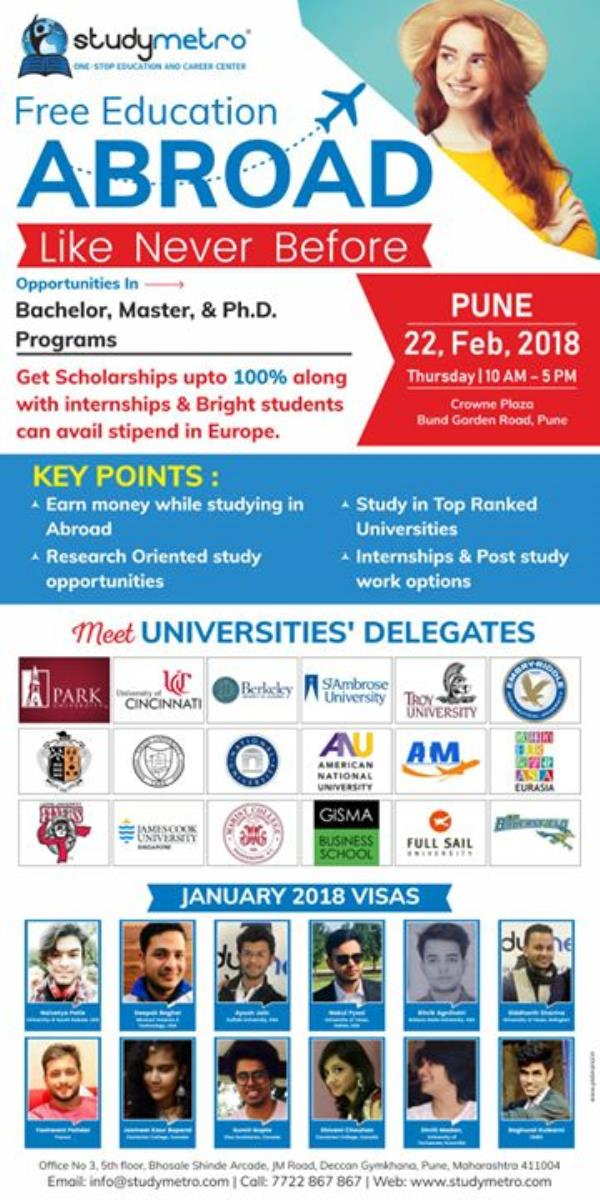 Apply for Paid Internships Abroad and Earn $2000 to $3500 per Month. Written Test on 22nd Feb 2018 at Crowne Plaza Hotel, Pune  Register Today at http://ow.ly/Yrnv30iobOZ  Call 8088-867-867 and get a chance to meet with Foreign Delegates. http://ow.ly/S7sa30iobP0