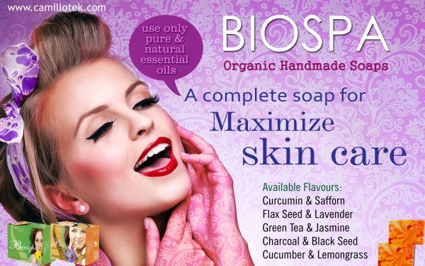Biospa is a complete soap for maximize skin care and use only pure & natural essential oils to give natural aroma. Organic handmade soaps online, natural saffron soap, olive oil soap, essential oil soap, aroma soap, natural bath soap, finest natural soap and organic herbal soap. Organic Handmade soap manufacturers, Organic Handmade soap suppliers, Organic Handmade soap exporters wholesalers, traders in Chennai, India.