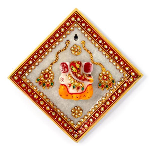 Buy Gold Meenakari Lord Ganesha Marble Hanging Plate Online.   Embellished with various color gemstones this marble made attractive showpeice Ganesha Idol surrounded by beautiful rakhis gives a rich look to your drawing room and shows your love of art uniquely.  This beautiful item can be used for decorative purpose. The meenakari work makes it eye catching.   Click on the below link to view the product:   http://littleindia.co.in/gold-meenakari-lord-ganesha-marble-hanging-plate-378/p514