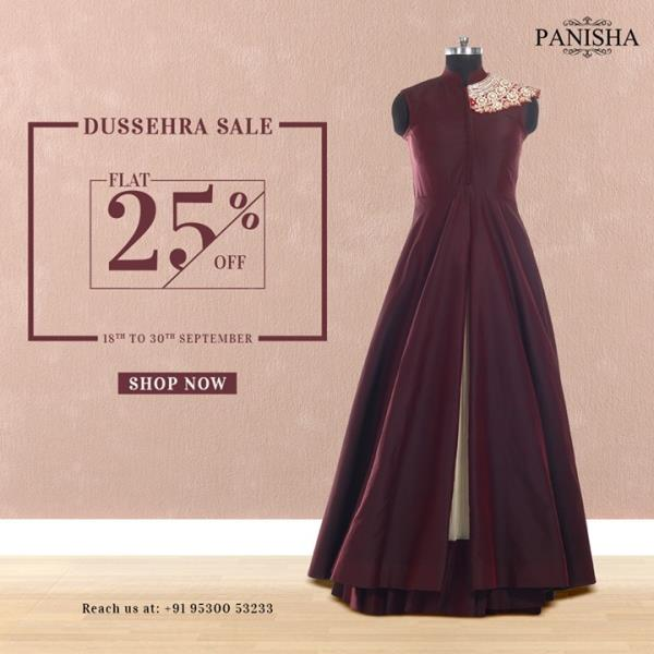 As the day of festivity comes closer, enthusiasm soars higher. Add to your festive joy. Shop your favourite pieces from our Dussehra sale at a FLAT 25% discount before they're gone. For any enquiry, give us a call on +91-9530053233.