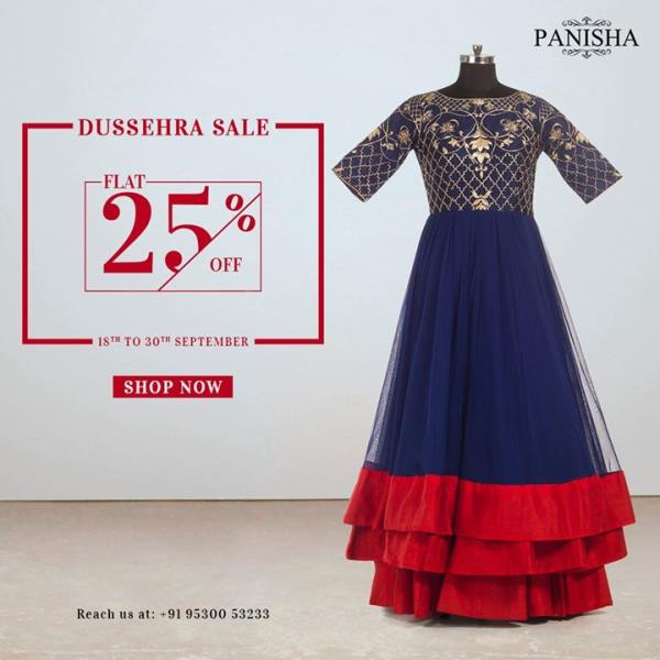 Our Dussehra sale is here. Shop our pieces and get a FLAT 25% discount. Celebrate the festivity in style. For any enquiry, give us a call on +91-9530053233.