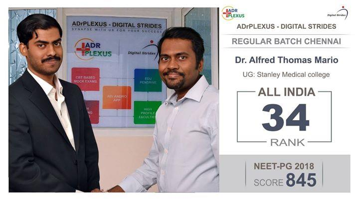 ADrPlexus Digital Strides Salutes Dr Alfred Thomas Mario  All India Rank 34 ( UG : Stanley Medical College ) NEET Score : 845