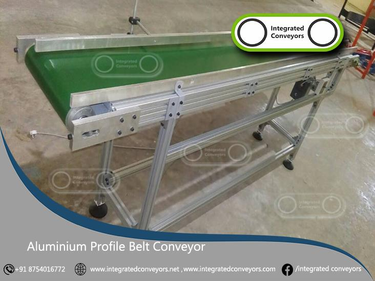 Aluminium Profile Belt Conveyors are based on the use of two aluminium, patented profiles for rollers, which, with few easy operations, allow to carry out drive and idler rollers in a fast and economic way. The carried out rollers are then assembled on anodized aluminium flanges which have auto-aligned rotation bearings on them. All components are supplied in standard lengths kit always in stock, or special kit, available in short time thanks to extreme modularity of the system. Kits are available to carry out conveyors with head motorization (direct) with standard for gear motors depending on dimensions of conveyor.