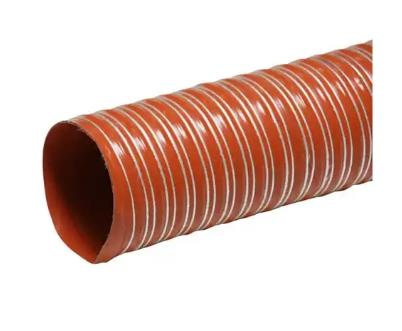 High Temp Silicone Hose  Silicon Duct Hoses are commonly used for high temperature air flow and fume removal. We have ready stocks and can supply bulk quantity as per requirement.   COLOUR : BRICK RED   OPERATING TEMP :- 60°C + 300°C   DIAMETER : from 19 to 305   AXIAL COMPRESSIBILITY : 30%   ON REQUEST : flame retardant V-0 (UL 94)  Applications :  Silicon Duct Hose is used for various applications like Air Suction, Extraction & Blow, also with dusty particles at high temperature, specially for Ceramic Industries, Hopper Dryers, Yarn Drying Unit, Printing industry, etc.