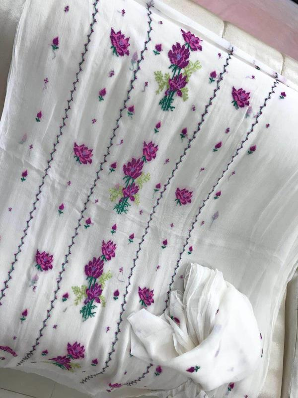 Pakistani pure chiffon suits with cross stitch work with pure chiffon embroidered dupattas  Grip bottoms  Dyeable suits     4850/- Shipping extra   3 to 4 weeks prebooking