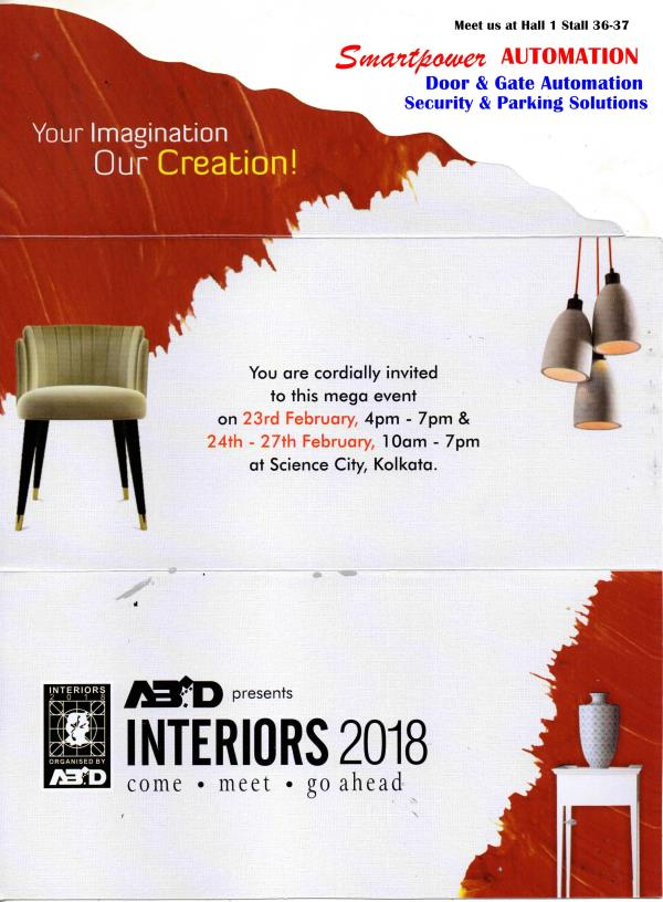 Meet us at Hall No 1 Stall no 36-37  24th - 27th Feb 2018  Smartpower Automation   Interiors 2018 Science City