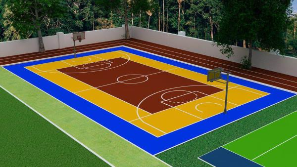 We at C-3 specialise in creating Basketball courts. This can be designed keeping the space in mind. We take up turnkey projects wherein you don't have to worry about various vendors. We have various surface options available to lay. PP Modular tiles, synthetic surface, Sandwich system can be used to lay the surface. We cater to different budget requirements as well.