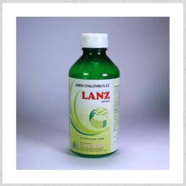 Lanz  Category: Insecticides  Content: LambdaCyhalothrin 5% EC  Advantages: Best insecticide for crops Contact action. Control of Caterpillar.  Crops: Apply in all crops.  Dosage: 250 ml Per Acre  Available Packing: 100 ml., 250 ml., 500 ml., 1 Ltr.