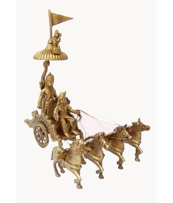 Exclusive Gift for Everyone, Even for Housewarming - ARJUN RATH in Yellow Metal with 4 Horses At DOWNTOWN in SHALIMAR BAGH, NEW DELHI.  For More Info:  Visit Our Store or Website ; http://downtownonline.in  PRICE : Rs.3400.00  Payment Link ; https://imjo.in/nphGqN