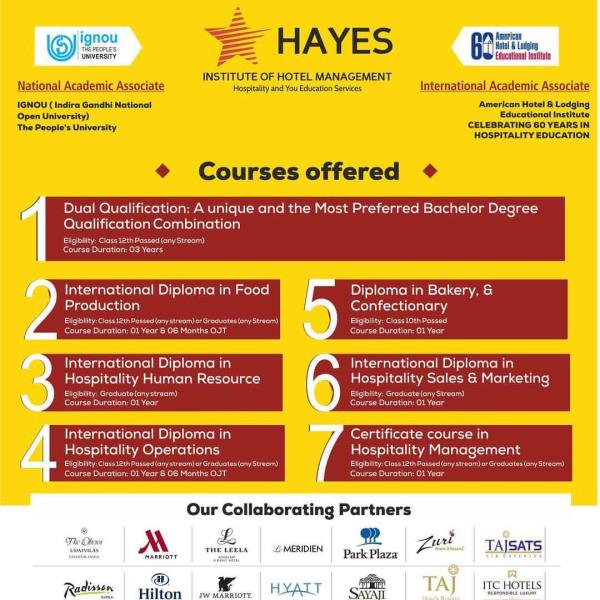 Hotel Management courses from the Institute , who had been winning Awards for the best hotel Management Institute from various Educational bodies for providing the Beat placements with the leading brands Pan India and also offers Industrial exposure nationally & Internationally with the best Hotel chains . Hayes has been achieving the 100% placements for its students with the leading 5 star hotels . Hayes offers various Courses in Hotel Management from 1 year to 3 years . Join the best courses and let us build career for you . Hayes comes as one of the best Private Hotel Management institutes in the North India .