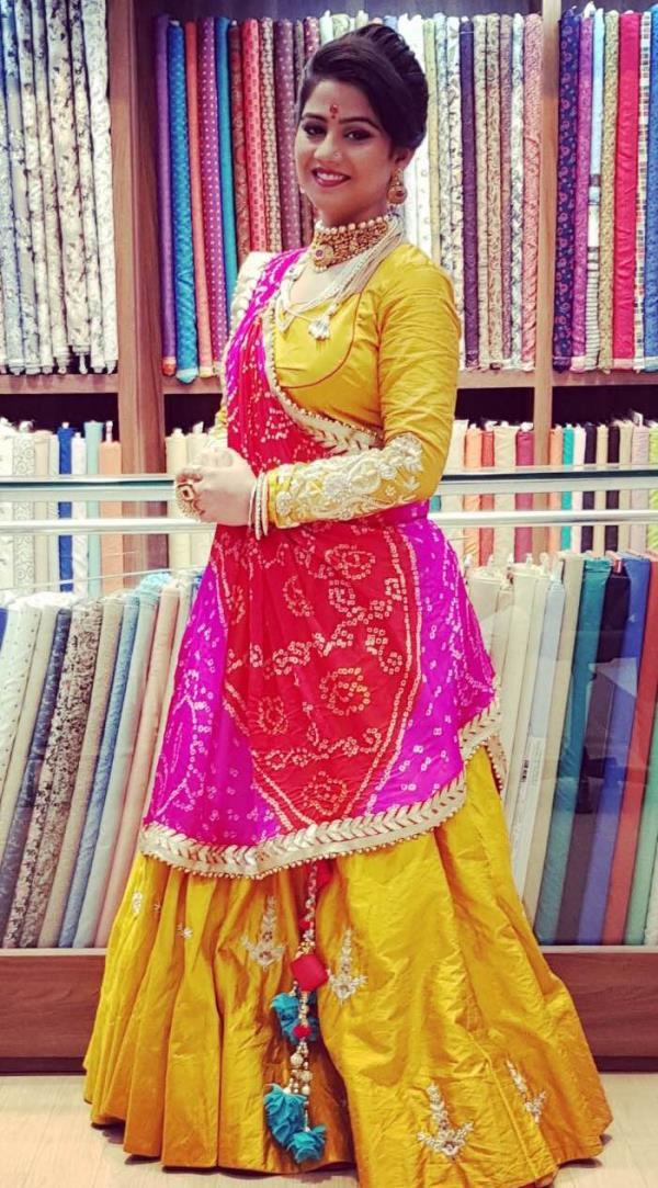 Panisha handcrafted lehnga suit with Bandhani Dupatta and gotta border all over the Dupatta mustard yellow colour make it more refreshing and new in trend look with 12 metre flair in the lehnga sleeves with handwork all over of Moti Kundan and Danka work with neckline also of beautiful handcrafted work at the front and back . Now Jodhpur is also a designer destination Panisha welcomes u to its new world of designing and make your dream comes true .. jodhpur , Rajwada Poshak now new in trend and we make Poshak more innovative and fresh in designing with butterfly colours .