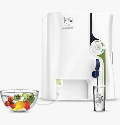 Pureit Marvella RO + UV/MF with Fruit & Vegetable Purifier In Koramangala, Bangalore Integrated water plus fruit and vegetable purifier Features RO + UV/MF water purification technology along with a unique fruit and vegetable purifier that ensures safe and healthy fruits and veggies for your loved ones. Effectively removes 2 times more pesticides from the surface of fruits and vegetables using the innovative Oxyblast Technology, in comparison to just washing it off under tap water.
