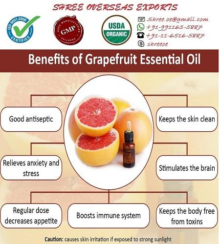 Best grapefruit oil in UK  Botanical Name         : Citrus maxima oil  Common Name          : Grapefruit Oil  CAS #                        : 8016-20-4  F.E.M.A.                     : 2530  Plant Parts Used        : Peel  Extraction Method      : Cold pressed  Color & Odor             : Yellowish to reddish yellow clear liquid with sweet dry citrus grapefruit odor.  Uses: Grapefruit has a high vitamin C content and is therefore valuable to the immune system. It helps protect against colds and flu, has a very positive effect on obesity. It has an uplifting effect on the mood and helps with stress and depression. It has been used for acne, appetite supprestant, cellulite, chills, circulation, colds, depression, detoxification, exhaustion-- It is a great nontoxic spray or wash for the cleaning of all pet areas, cages and bedding etc. to provide a germ free environment.