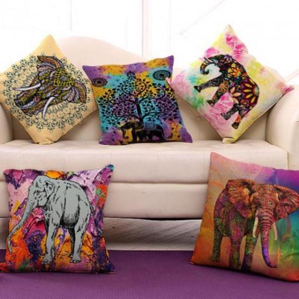 Hand-painted Bohemian Style Flower Mandala Cushion Cover Pillow Case