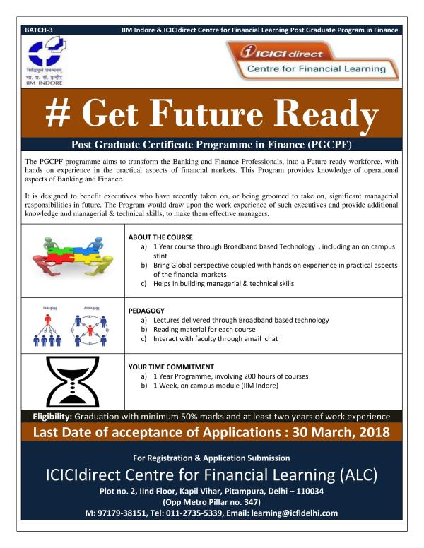 IIM Indore - Post Graduate Certificate Program in Finance (Batch -3)  One of the Best Program in Finance for Executives offered by IIM & ICICI