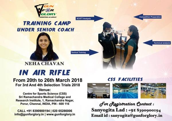 Gun For Glory is offering Air Rifle shooters the opportunity to be trained at the state of the art sports facility at Centre For Sports Science under the able guidance of Gun For Glory coach Neha Chavan for the 3rd and 4th selection trials 2018. The camp is being conducted from the 20th of March to the 26th of March.  This training camp will give an opportunity to shooters, to work on their various aspects in shooting with world class facility and support at shooters disposal.  For further queries and registration please contact with Sanyogita Lad at sanyogita@gunforglory.in or you can call her at +91 8390900194