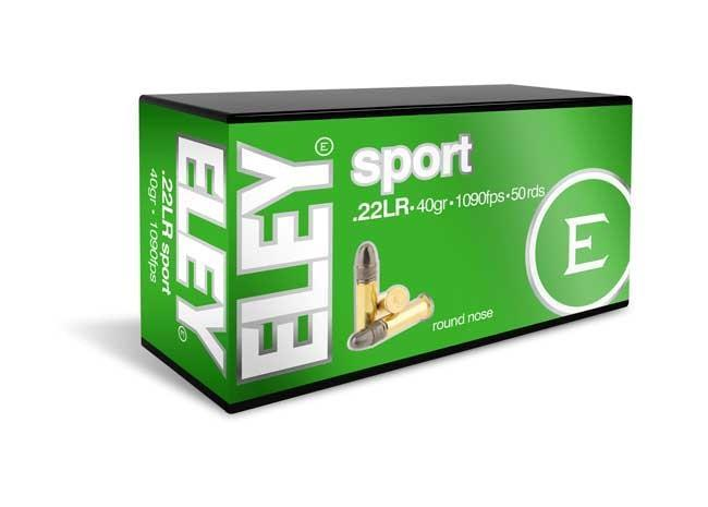 ELEY sport Ammunition overview ELEY sport introduces shooters to the world of ELEY's consistency and accuracy.   Manufactured to ELEY's strict internal specification, ELEY sport benefits from electronic visual inspection and rigorous test proofing. Small lot quantities and statistical process control techniques deliver reliability and performance in every round.  description key features Round nose bullet profile Great value performance Reliable functioning in both single shot and rapid fire pistols and rifles A great alternative hunting round used for 50m Prone 50m 3 Positions 50m Free pistol 25m Rapid Fire Pistol 25m Pistol Lightweight Sport Rifle (LSR) Silhouette firearm .22LR Rifle .22LR Pistol .22LR Lightweight Sport Rifle (LSR) technical information ELEY sport technical banner   specifications bullet profile Round nose  cartridge length 25.4mm / 1inch  bullet weight 2.59grams / 40grains  velocity Muzzle : 332m/s (1090ft/s)  50m (55yds) : 303m/s (994ft/s)  91m (100yds) : 285m/s (935ft/s)  energy Muzzle = 14.6 (Kg.m) / 105.6 (ft.lb)  50m / 55yds = 12.1 (Kg.m) / 87.5 (ft.lb)  91m / 100yds = 10.7 (Kg.m) / 77.4 (ft.lb)  lubricant Beeswax-tallow Available in One Week Contact Mr. Ghanasham Shukla +91 8550994091 or email - hubshootingsports@gmail.com