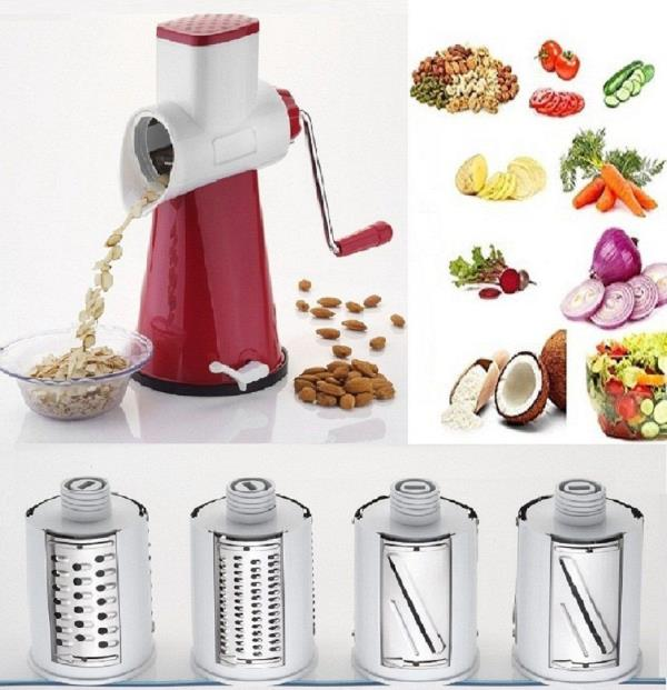 4 IN 1 ROTARY GRATER AND SLICER :- 4 IN 1 ROTARY GRATER & SLICER, 3 SLICER & 6 GRATER INCLUDED, USEFUL FOR POTATO, CUCUMBER, CARROT, DRY FRUIT, COCONUT, ETC. ELTRA SHARP BLADES WITH HIGH EFFICENCY (COLOUR MAY VARY).   •Content : 4 in 1 Rotary Slicer, Grator and Juicer, Colour : Green; Material : ABS Plastic  •Comes with 4 type of different blades, can be used to grate Potato, Carrot, Tomato, Coconut, Orange Juicer  •Ultra Sharp blades, made of High grade stainless steel  •Having a vaccum base, makes the product efficience very high. Also easy to hold and handle  •Safety pusher guide to keep your food in place white cutting or working on the grater & slicer    EASY TO USE AND ASSEMBLE ULTRA SHARP BLADE WITH HIGH EFFICIENCY 4 INTERCHANGEABLE STAINLESS STEEL BLADES SAFETY PUSHER CAP KEEP YOUR FOOD IN PLACE WHILE CUTTING This intelligently designed kitchen tool saves time as one can easily and quickly grate and slice large quantities of vegetables, nuts or cheese instead of using a knife to cut them individually. The drum shredder features 3 different drums for fine or coarse grating as well as for accurate slicing of carrots, cucumbers, zucchinis, potatoes, chocolate, coleslaw, nuts, hash browns, onions and many other ingredients. The kitchen gadget is very robust & durable, ABS plastic, and can be mounted to any clean & non-porous surface with absolute ease due to its powerful suction base. Food grade stainless steel. All pieces are detachable for easy to clean, dishwasher safe Powerful Suction Base: The Slicer with Strong Non-Skid Base, can be Mounted to Any Clean & non-porous Surface with Absolute Ease. Additionally, the cutter is extremely easy to clean - just rinse it with warm water or place the housing and the drums on the top rack resp. in the silverware basket of the dishwasher Great Gift: The Rotary Drum Slicer is a great gift for your friends, parents and relatives, during birthdays, Christmas holidays and special events Items delivered: 4 in 1 Rotary Slicer