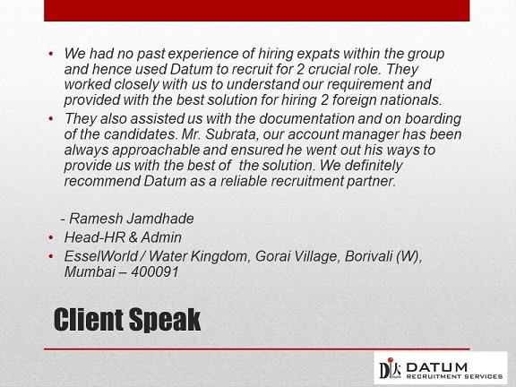 At Datum Recruitment Services and Select Search Solutions, customer satisfaction is a factor that helps us stand out and is taking our brand places. It is a point of differentiation.  We believe customer satisfaction doesn't just impact the business' bottom line, it also impacts team morale and retention rate.  To us, customer testimonials are an effective tool for as they provide us with a metric and feedback that we can use to manage and improve our services, have an actionable insight to create a better customer experience and delivers tangible data that can be used to make better business decisions.  There is great satisfaction in knowing you have done your job well and met your clients' expectations. We are extremely motivated to do better when we receive glowing testimonials and acknowledgment from a satisfied client.  Become our next happy client. Connect with us for your global executive search needs on http://datum-recruitment.com/  Feel free to download our case study from  http://datum-recruitment.com/blog/wp-content/uploads/2018/03/ppt163bird.pdf