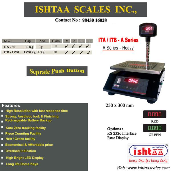 ISHTAA - Best Retail Weighing Scale in Coimbatore  Ishtaa - A Series Heavy Table Top Scales   #Groceryweighing #Digitalretailweighing  #Parcelweighing  #Fruits& Vegetablesweighing  #Meatsweighing  #DiaryUnitsweighing #Metalbodyweighing #RS232interfaceweighing #AccurateWeighing #AccurateScale #Weighing #IshtaaWeighing  #Scales  #DigitalWeighing #Tamilnadu   #WeighingScaleService   #WeighingScaleSpares  Click here to know more  --> https://goo.gl/EBSqG2  Contact: 09843016028 www.ishtaascales.com