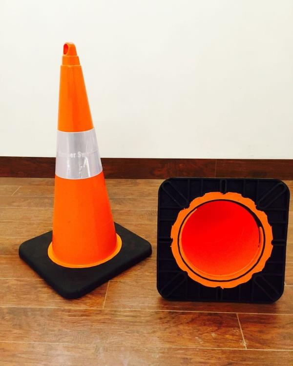 """SAFETY CONE European design PVC Safety Cone/ Traffic  Safety Cone /Road Safety Cone/Flexible Cone Moulded Rubber Injection moulded  UV non fading colours Reflective sleeve 6"""" Flexible Material  Heat resistance between -20 to +60 deg C  Very - by Safety Bazar, New Delhi"""