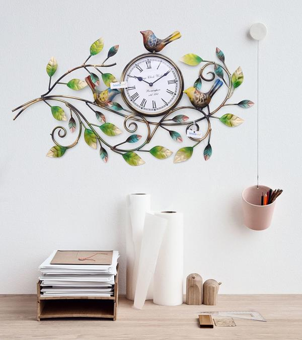 Collectible India Brings You To Decorative Wall Clock Birds Wall Clock With  Leaf, Beautiful Iron