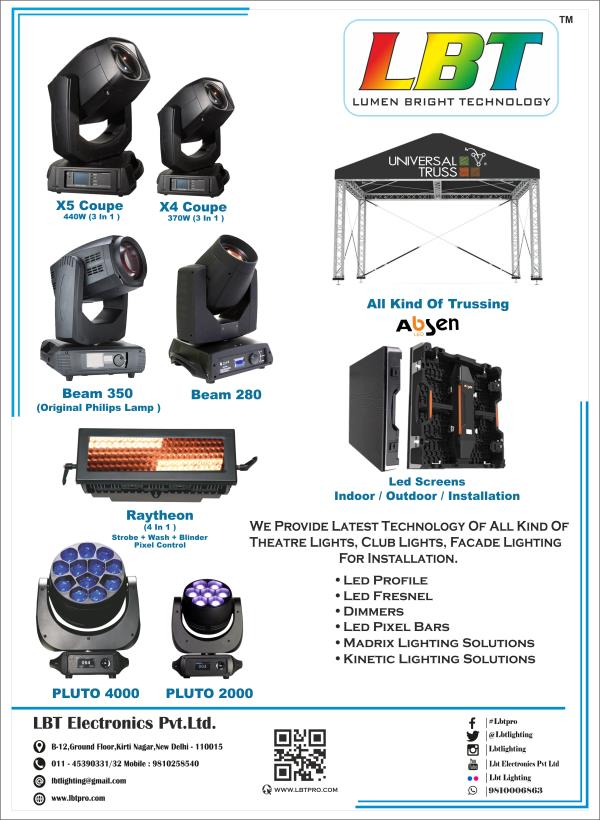 MADRIX LIGHTING SOLUTIONS, KINETIC LIGHTING SOLUTIONS, CLUB LIGHTING, INDOOR/OUTDOOR LED SCREENS, ALL TYPE OF ALUMINIUM TRUSS. STAGE LIGHTS IN DELHI, DJ LIGHTS IN DELHI, LED LIGHTS IN DELHI, LED SCREENS IN DELHI, ALUMINIUM TRUSS IN DELHI WWW.LBTPRO.COM