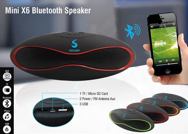 Leading suppliers of Bluetooth speakers in Mumbai  Giftt Hub has very creative and innovative Bluetooth speakers. Portable Bluetooth speakers are great corporate gifting product as it is used by everyone and can be easily carried around.  Giftt hub provided pocket friendly Bluetooth speakers with great sound quality.  This mini X6 portable Bluetooth speakers has many features like FM radio, slot for TF card and USB port. It is a palm size small speaker. Giftt Hub personalised this rugby shape speaker for it's esteemed client Solvay.  So what are you waiting for ? Order bulk quantities and get great discounts !!