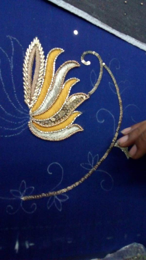 Handcrafted fresh 3D look new season work with a fresh colour thread work