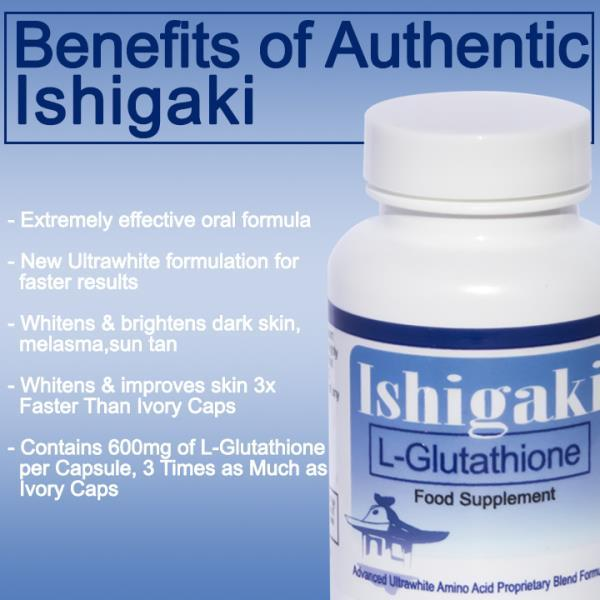 Ishigaki skin whitening pills INR 3, 100 INR 4, 700 34%AvailableBUY ONLINECASH ON DELIVERYNEED MORE INFO WORRIED FOR DARK SKIN??. GET FAST EFFECTIVE RESUL T IN 7 DAYS!. INGREDIENTS : Glutathione Tri-Peptide L-Glutamic Acid 200mg L-Cysteine 200mg Glycine 200mg N-Acetyl-L-Cysteine 100mg L-Methionine 50mg L-Proline 50mg L-Threonine 50mg  Whitens & improves skin 3x Faster   * Extremely effective oral formula  * New Premium, more potent formula for faster results  * Whitens & brightens dark skin, melasma, sun tan  * Oral glutathione has been shown in double-blind placebo-controlled study to effectively  * promote the lightening of skin through the inhibition of skin pigment (melanin) production  * Glutathione for skin whitening has been shown to be safe and effective in numerous clinical studies  * Contains 600mg of L-Glutathione per capsule,   * Contains 250mg of L-Glutathione booster which increases the efficiency of glutathione  Glutathione competitively inhibits melanin synthesis in the reaction of tyrosinase and L-DOPA by interrupting L-DOPA's ability to bind to tyrosinase during melanin synthesis. These results indicate that glutathione inhibits the synthesis and agglutination of melanin by interrupting the function of L-DOPA.  Direction for Use: 1 bottle contains 60 capsules Take 1 capsule in morning and 1 in night before food 30 min for with one 500mg vitamin c tablet like celin