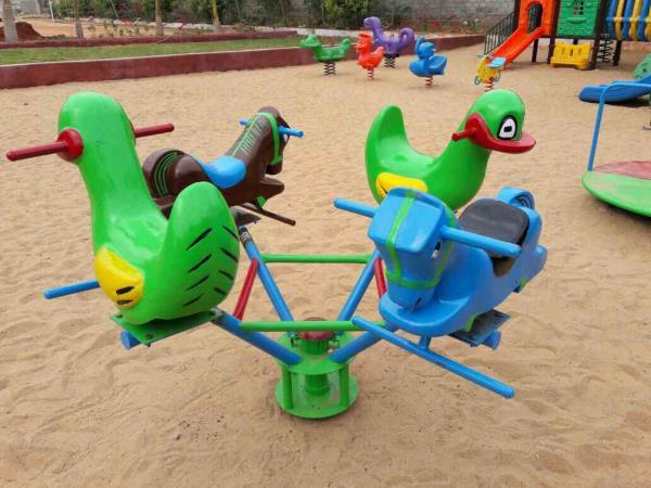 Fiber based play ground equipments in hyderabad,  Fiber play ground equipment manufacturing in Hyderabad  revolving duck and horse.