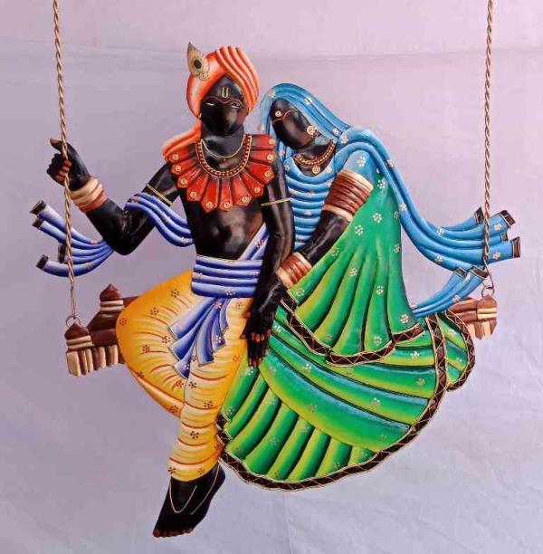 Very Femas Wrought Iron Handicraft   Radha Krishna jhula Wall Hanging