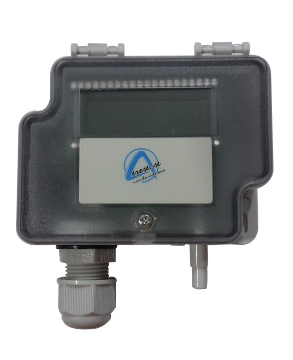 Aerosense Economical Differential Pressure Loop Powered transmitter with 2 field selectable ranges and Optional Display.