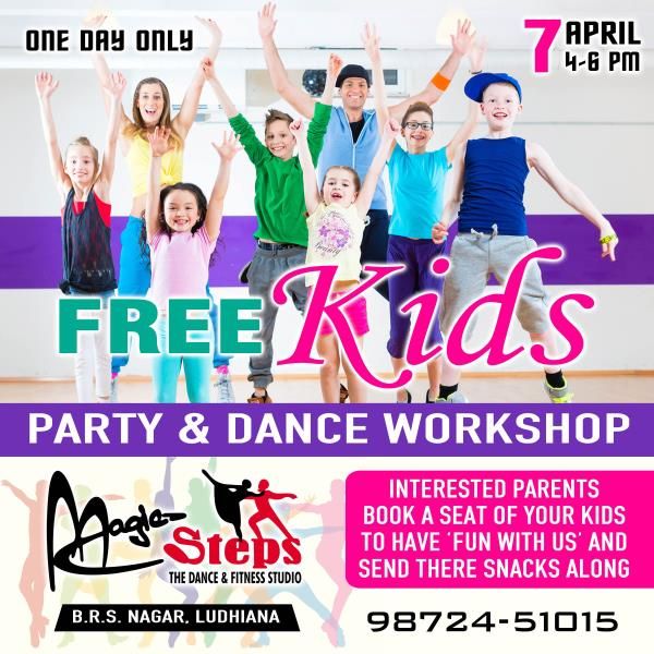#Free_Dance_Workshop_With_Magic  ONE DAY FREE WORKSHOP ONLY  ANYBODY CAN PARTICIPATE  AGE BETWEEN 3 TO 15 YEARS  1. Interested parents book a seat of your kids to have