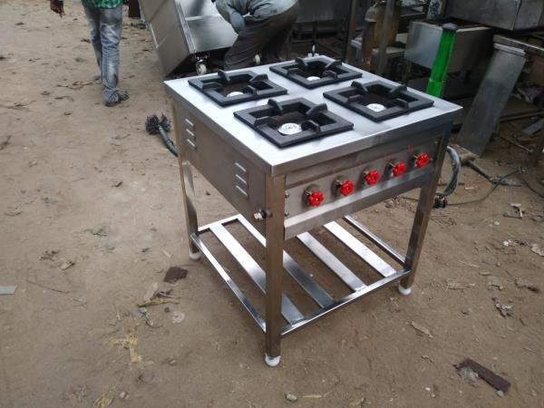 Stainless Steel Four Burner Continental Cooking Range For Hotels , Restaurants, Bistros , Commercial kitchen Equipments Manufacturer In Chennai