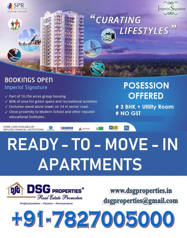 SPR IMPERIAL ESTATE - READY TO MOVE 3BHK + UTILITY APARTMENTS IN THE HEART OF GREATER FARIDABAD. SECTOR - 85 FARIDABAD. OCCUPATION CERTIFICATE RECEIVED. BEST SOCIETY OF FARIDABAD. SPACIOUS APARTMENTS WITH FEEL OF LUXURY. EASY PAYMENT PLAN OPTION AVAILABLE. BOOKINGS OPEN   SPR Imperial Estate is a project from SPR Buildtech Pvt Ltd in Sector 82 of Faridabad which is located at the centre of Greater Faridabad region and next to the commercial hub at Sector 79.   Some of the prominent and exclusive features of this project are Badminton Court, Jogging Track, Safe play area for kids, indoor facilities for recreation, synthetic tennis and basketball courts, clubhouse, spa and jacuzzi, 3 level security with CCTV camera feed in all rooms and wonderful landscaping of exteriors.   The advantages of this project location give many, such as well connectivity of roadways and other needed things in a short distance. The four lane bypass road is also near to the project site location. The apartment is located on the existing Tigaon road.   Don't miss this opportunity getting a ready to move flat in resale prices within direct fresh booking from builder.   For further details feel free to contact - +91-98186 50470, 98108 49137