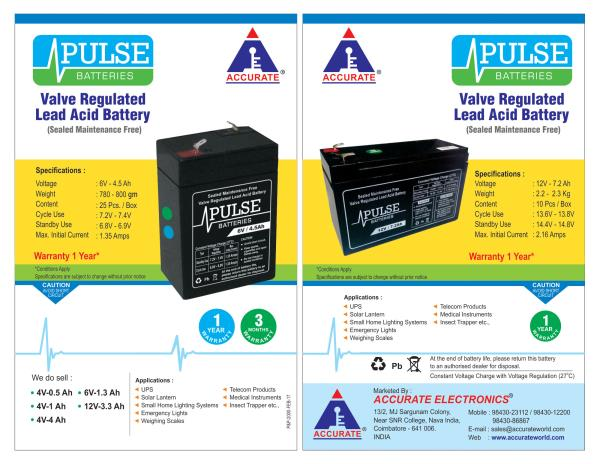 ACCURATE - PULSE BATTERIES  Huge Stock available at Reasonable Price.  1 Year Warranty. We are dealing quality PULSE Batteries.   UPSbatteries, WeighingScalebatteries, Emergencylightbatteries ComputerUPSbatteries, Smallhomelightingsystems, Telecomproduct Solarbatteries, 1YearWarrantybatteries, 6V-4.5Ahbatteries,  12V-7.2Ahbatteries, PulseBatteries,  AccurateWeighing, Weighing Click here to know more : https://goo.gl/bJ8JAh Contact: 98430 23112, 98437 47667