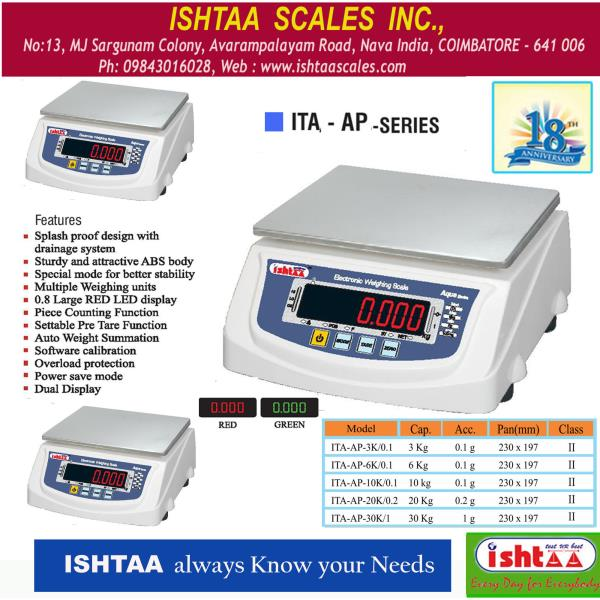 This design has more advantages, also very reliable and accurate.  Ishtaa Scales employ the latest techniques and approved by the Directorate of Legal metrology for stamping by the Weights and Measures Authorities.  ISHTAA – ITA - AP Series  PackingweighingScale , SilverWeighingScale, CourierservicesScale   PieceCountingScale , HardwareShopScale, DairyunitsWeighingScale  IndustrialweighingScale, CottageIndustryScale, IshtaaWeighing Scales, Weighing  Contact: 98430 16028 Click here to know more : https://goo.gl/OTSYcN