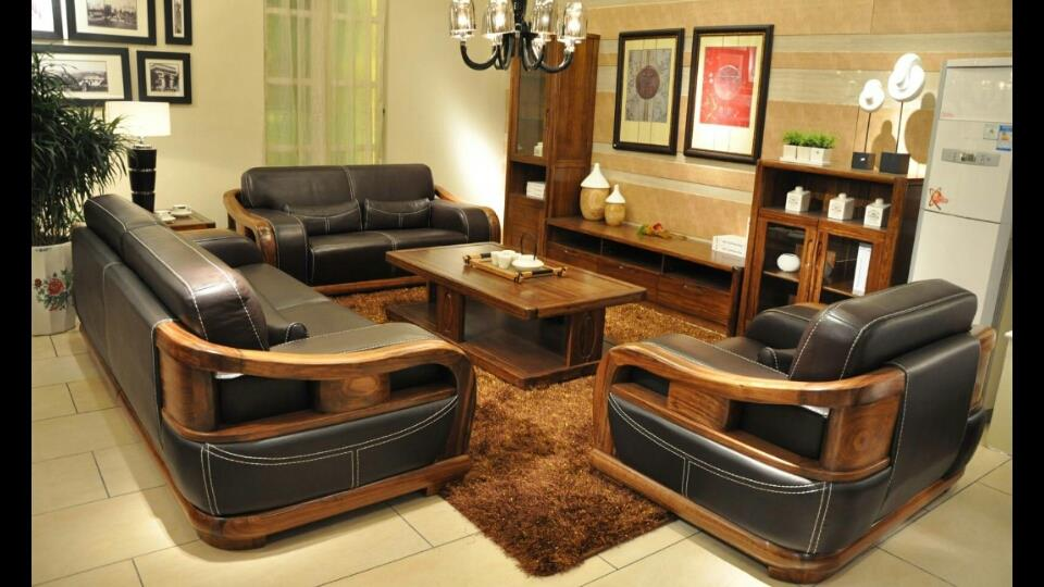 Wooden Sofa Set, Made Of Teak Wood, With Natural Leather.