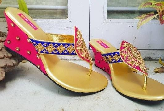 Beautifully handcrafted Pink and Royal Blue Marodi Work Wedges from The Wedding Collection by Blinkk Footwear! 💖