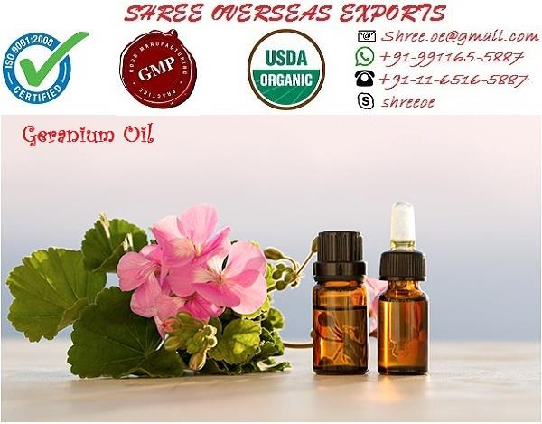 "Best Geranium oil | most selling oil  Description:  Geranium Oil is 100% Pure essential oil derived from leaves of Pelargonium odorantissimum. Geranium  Oil is ideal for the whole body. An effective oil massage that can soothe nervous disorders and stress.  ""Geranium Essential Oil"" is blessing from nature. It can treat exhausted muscles, body Ache. Botanical Name: Pelargonium graveolens Appearance: Liquid  Aroma: Pleasant, Fresh, Rose-resembling aroma.  Color: Green  Extraction: It is extracted by steam distillation of leaves and flowers. Uses: 1.  Geranium can be used in the treatment of inflammation which provides mild as well as soothing effect. The action on the nervous system is pronounced being a sedative with uplifting characteristics. 2. Geranium is reputed to be highly effective in assisting with pre-menstrual tension, excessive fluid retention, menopausal problems, uterine and breast cancers. 3. It is a wonderful oil to use as a hormone balancer for P.M.T. and menopause. It can also be used in a massage blend for painful periods and sore breasts as it also has an analgesic effect. 4. It is used as a fragrance in all kinds of cosmetic products like soaps, creams, perfumes etc. 5. This oil is rejuvenating to the skin, treating acne, bacterial and fungal infections and to treat wounds and scars. Geranium skin preparations are gently astringent, opening pores and clearing oily complexions. 6. A good massage can be prepared by adding 2 drops of geranium and 3 drops of mandarin with 10ml or 1 desert spoon full of vegetable oil for a skin conditioning blend for use to remove stretch marks of broken capillaries. 7. Geranium oil is also an insect repellent and is good for headaches, dental abscess, stings and bites. Geranium is used in the following applications. 8. Geranium oil can be used in blended massage oil or diluted in a bath to assist with PMS, depression, stress, anxiety and tension, fluid retention, edema, eczema, shingles, cellulite, bruises, insect repellent, ringworm, hemorrhoids and menstrual irregularities. 9. As a constituent in a blended base cream, geranium oil can be used for eczema, repelling insects, shingles, burns and scalds, cellulite, ringworm, bruises and engorgement of the breasts 10. It will help to balance the oil production of the skin and help keep it supple, while the cicatrizant properties ensure that it is helpful in wound healing, including burns, wounds and ulcers. 11. Geranium oil can also be diluted in shampoo to help with head lice.  How to use: Take an adequate amount of this oil and dilute it with your carrier oil. Gently massage on your body. ( Can also be diluted with bathing water.)"