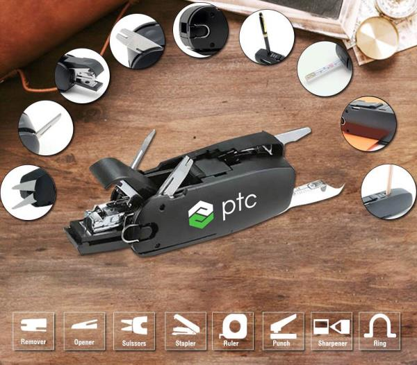 Leading suppliers of desktop products  10 in 1 combo is a innovative concept to keep your desktop organised. This unique desktop product is one product will multiple uses. It's a compact desktop product with more than 10 uses, it has a stapler, punch, measurement tape, scissors, pen stand, sharpener, ruler and many more.  This desktop product has multi functions and ample space for branding making it a great corporate gifting product.  For such compact, multi use and multi purpose products visit our website and write to us for bulk queries.